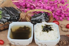 Seaweed soup is delicious and dried seaweed. Royalty Free Stock Photo