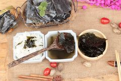 Seaweed soup is delicious and dried seaweed. Stock Image