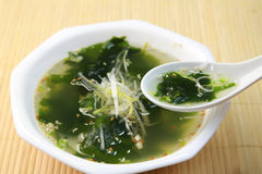Seaweed soup. Hot soup of seaweed and the sesame Royalty Free Stock Images
