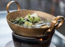 Seaweed soup with minced pork stock image