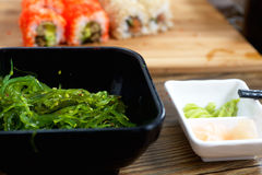 Seaweed and wasabi on table Royalty Free Stock Photography