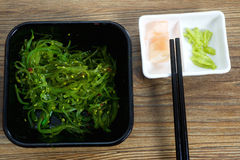 Seaweed and wasabi on table Stock Images