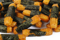 Seaweed wrapped rice crackers Royalty Free Stock Image