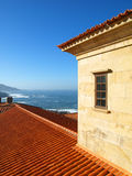 Seawiew from a balcony. Seaview from a balcony of a typical galician building in the cost town of Baiona Stock Image