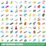 100 seawind icons set, isometric 3d style Royalty Free Stock Images