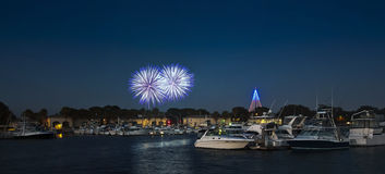 A Seaworld Fireworks Shot, Dana Landing, San Diego Stock Photo
