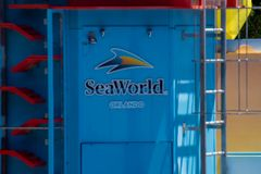 Seaworld logo on colorful background at International Drive area. Orlando, Florida. April 20, 2019. Seaworld logo on colorful background at International Drive royalty free stock photography