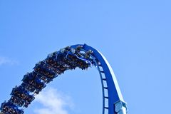 At Seaworld. Riders enjoy exciting face-down adventure, full of twists, high speed and inversio stock image
