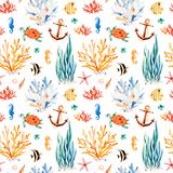 Seaworld watercolor background with cute turtle,seahorse,coral reef,seaweed. Underwater multicolored seamless pattern.Seaworld watercolor background with cute Royalty Free Stock Images