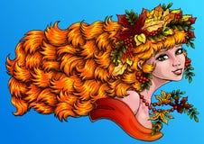 Seazon dziewczyny jesieni kolor na błękitnym hor Obrazy Stock