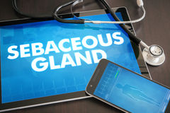 Sebaceous gland (cutaneous disease related) diagnosis medical co. Ncept on tablet screen with stethoscope Royalty Free Stock Images
