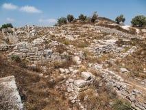 Sebastia, oud Israël, ruïnes en uitgravingen stock afbeelding