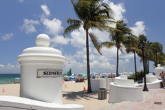 Sebastian Beach Entrance Fort Lauderdale stock afbeelding