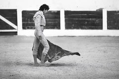Sebastian Castella. French Bullfighter walking with a crutch has ended the slaughter Royalty Free Stock Photos