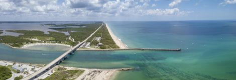 Sebastian Inlet in Brevard and Indian River Counties, Florida. Sebastian Inlet allows boats to reach the open ocean from the protected lagoon royalty free stock photo