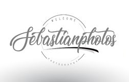 Sebastian Personal Photography Logo Design with Photographer Nam. E and Handwritten Letter Design Royalty Free Stock Photo