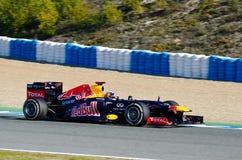 Sebastian Vettel de Red Bull emballant l'équipe Images stock