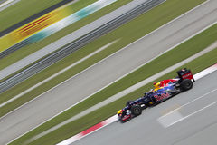 Sebastian Vettel exits turn 15 Royalty Free Stock Photos