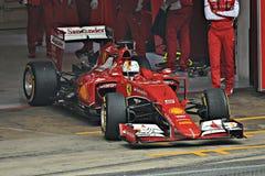 Sebastian vettel-Ferrari Fotos de archivo libres de regalías