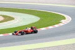 Sebastian Vettel jedzie Scuderia Ferrari samochód na śladzie dla Hiszpańskiego formuła jeden Uroczysty Prix przy Obwodem De Catal Obraz Royalty Free