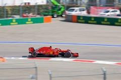 Sebastian Vettel of Scuderia Ferrari. Formula One. Sochi Russia. Sochi, Russia - September 30, 2018: Sebastian Vettel of Scuderia Ferrari F1 team racing at the stock image