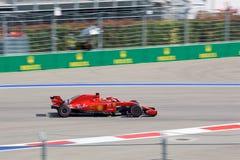 Sebastian Vettel of Scuderia Ferrari. Formula One. Sochi Russia. Sochi, Russia - September 30, 2018: Sebastian Vettel of Scuderia Ferrari F1 team racing at the royalty free stock image
