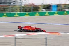 Sebastian Vettel of Scuderia Ferrari. Formula One. Sochi Russia. Sochi, Russia - September 30, 2018: Sebastian Vettel of Scuderia Ferrari F1 team racing at the stock photo