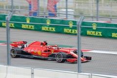 Sebastian Vettel of Scuderia Ferrari. Formula One. Sochi Russia. Sochi, Russia - September 30, 2018: Sebastian Vettel of Scuderia Ferrari F1 team racing at the stock photography