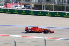 Sebastian Vettel of Scuderia Ferrari. Formula One. Sochi Russia. Sochi, Russia - September 30, 2018: Sebastian Vettel of Scuderia Ferrari F1 team racing at the royalty free stock photo