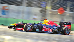 Sebastian Vettel som är tävlings- i grand prix för F1 Singapore Arkivfoton