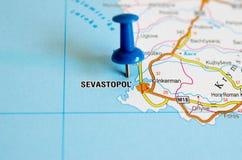 Sebastopoli sulla mappa Fotografie Stock