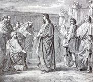 SEBECHLEBY,斯洛伐克:耶稣和抄写员和伪君子 在书Zivot Jezisa Krista bozskeho Spasitela naseho的石版印刷 免版税库存照片