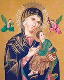 SEBECHLEBY, ESLOVAQUIA - imagen de Madonna con el niño Jesús, por el pintor desconocido Foto de archivo libre de regalías