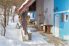 Sebechleby - porticoes van de oude huizen van de wijnstokkelder van middenslowakije Stara Hora in de winter Royalty-vrije Stock Afbeeldingen