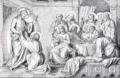 SEBECHLEBY SLOVAKIEN - JULI 27, 2015: Synen av återuppväckte Jesus till aposteln av konstnären Scheuchl 1907 Arkivfoto