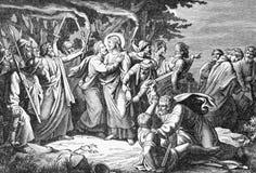 SEBECHLEBY, SLOVAQUIE - 27 JUILLET 2015 : Arrêter de Jésus en lithographie de jardin de Gethsemane par l'artiste Scheuchl 1907 image libre de droits
