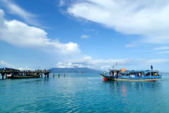Sebesi Island Pier. Wooden boat arrive at Sebesi island, Lampung, Indonesia Royalty Free Stock Photo