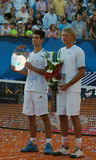 Sebia Open ATP 250 Belgrade 2009. Novak Djokovic(SRB) and Lukasz Kubot(POL) with the champions trophy Stock Images