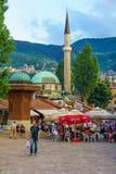 Sebilj和街道场面,萨拉热窝 免版税图库摄影
