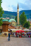 Sebilj i uliczna scena, Sarajevo Fotografia Royalty Free