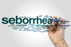 Seborrhea word cloud. Concept on grey background royalty free stock photography