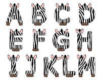 Sebra alfabet inställt från A till M Arkivbilder