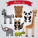 Sebra för vektordjuruppsättning, sköldpadda, giraff, elefant, panda, björn Royaltyfria Foton