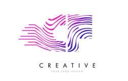 Sebralinjer bokstav Logo Design för CF C F med magentafärgade färger royaltyfri illustrationer