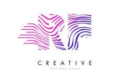 Sebralinjer bokstav Logo Design för RF R F med magentafärgade färger Royaltyfri Bild