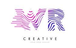 Sebralinjer bokstav Logo Design för WR W R med magentafärgade färger stock illustrationer