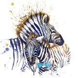 SebraT-tröjadiagram sebraillustration med texturerad bakgrund för färgstänk vattenfärg ovanlig fashi för illustrationvattenfärgse stock illustrationer