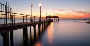 Sebring在日落的市码头,佛罗里达 免版税图库摄影