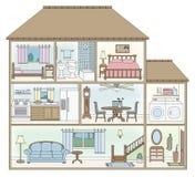 Secção transversal da casa ilustração stock