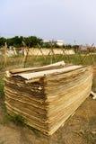 Secado de las cortezas para la fabricación de papel tradicional Fotos de archivo
